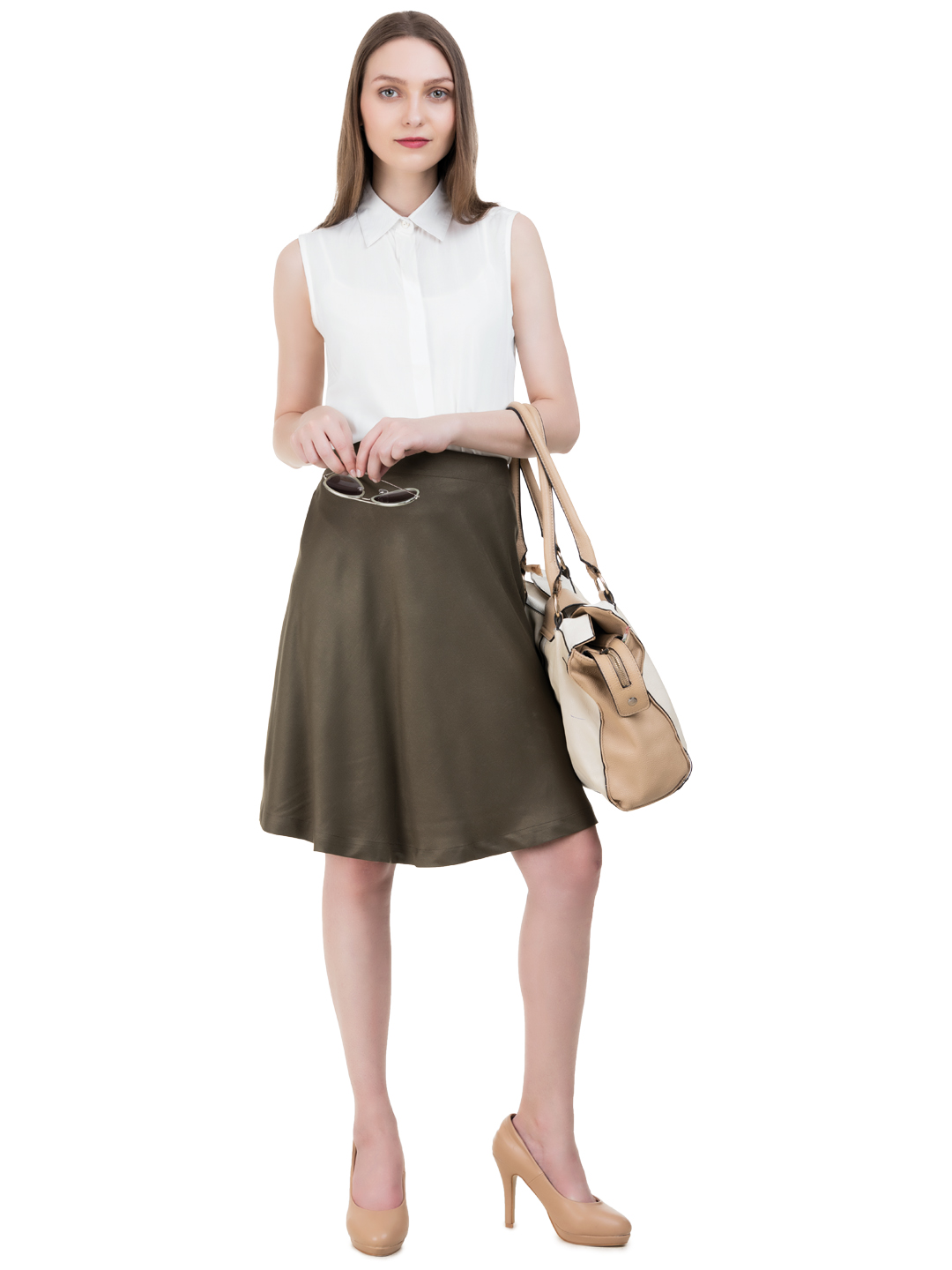 Solid A-Line Rayon Skirt