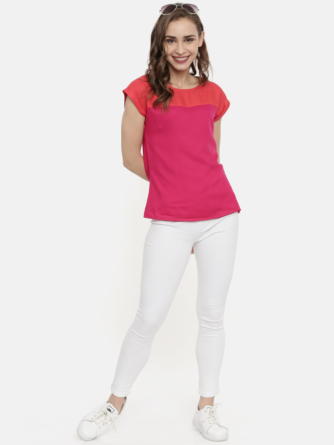 Pink & Coral Color Blocked Top