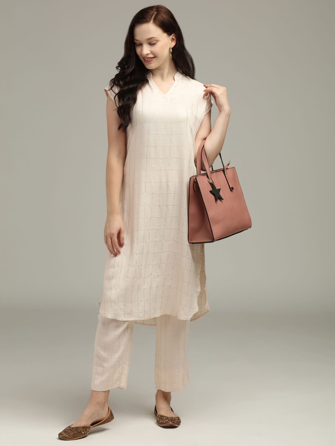 Cream checkered Tunic & Trouser set
