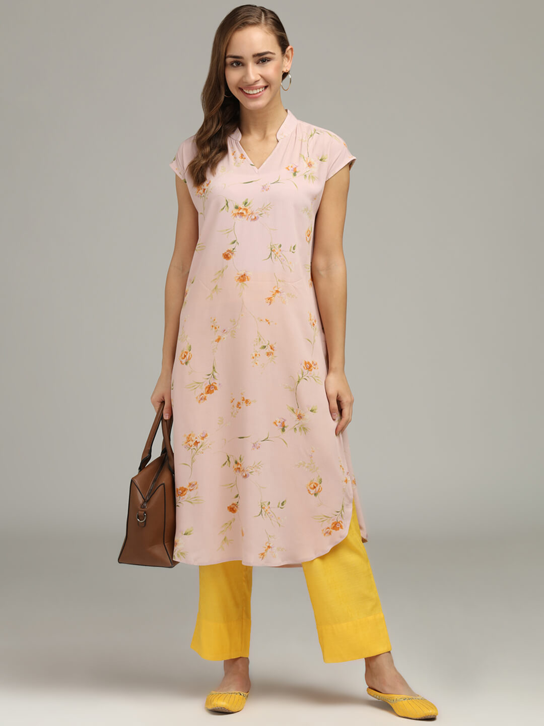 Peach Printed Tunic & Trouser set