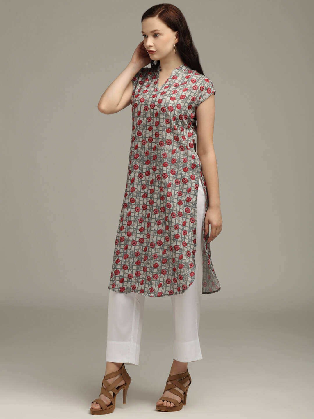 Grey Printed Tunic & Trouser set