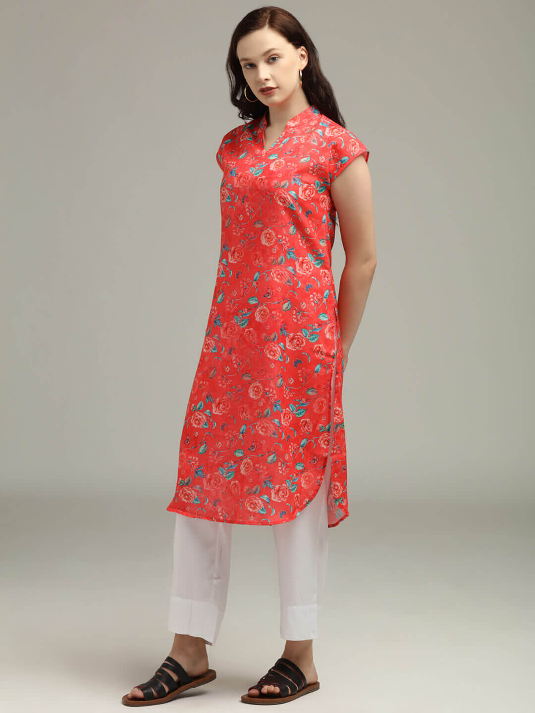 Red Printed Tunic & Trouser set