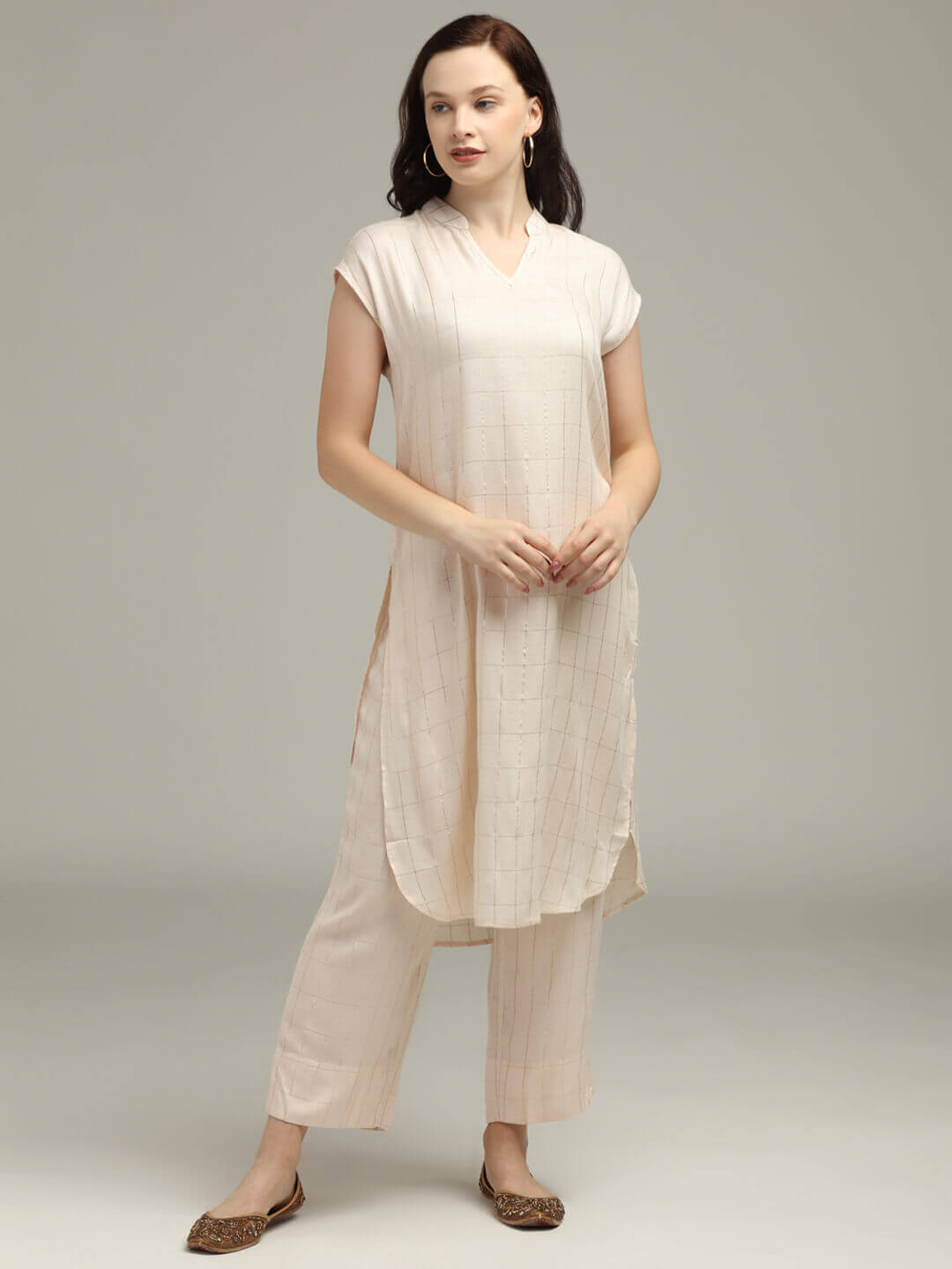 Cream with Gold Check Long Tunic