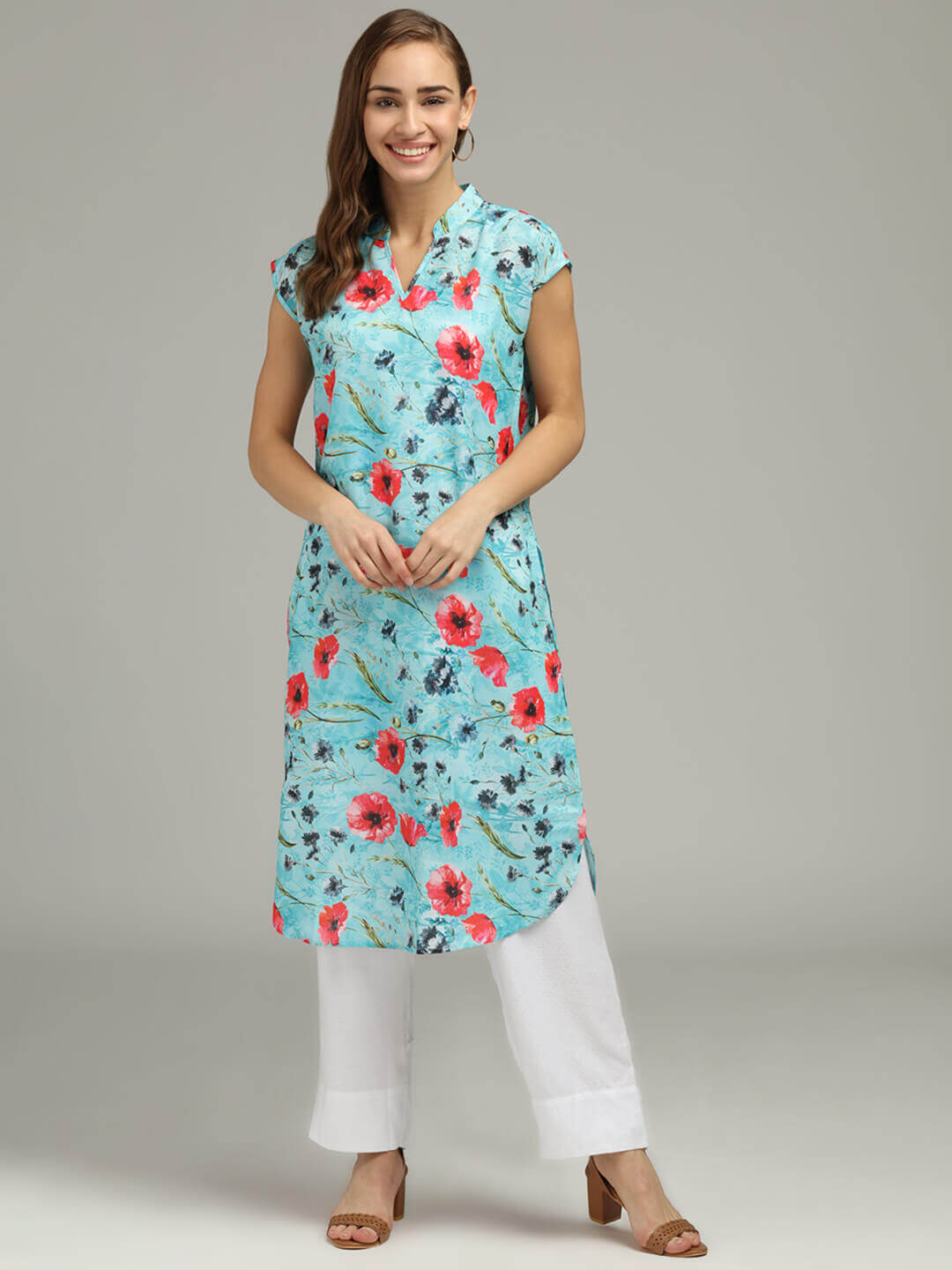 Blue Floral Printed Long Tunic