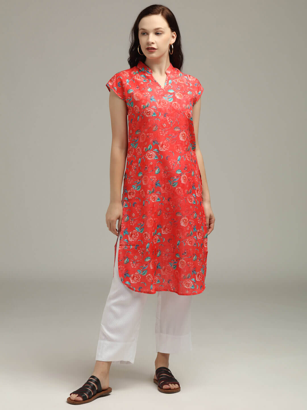 Bright Red Floral Printed Tunic