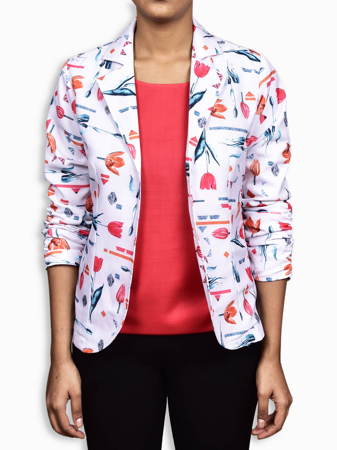 White Floral Open Front Jacket