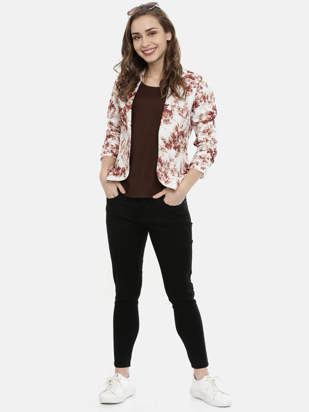 Brown Floral Open Front Jacket