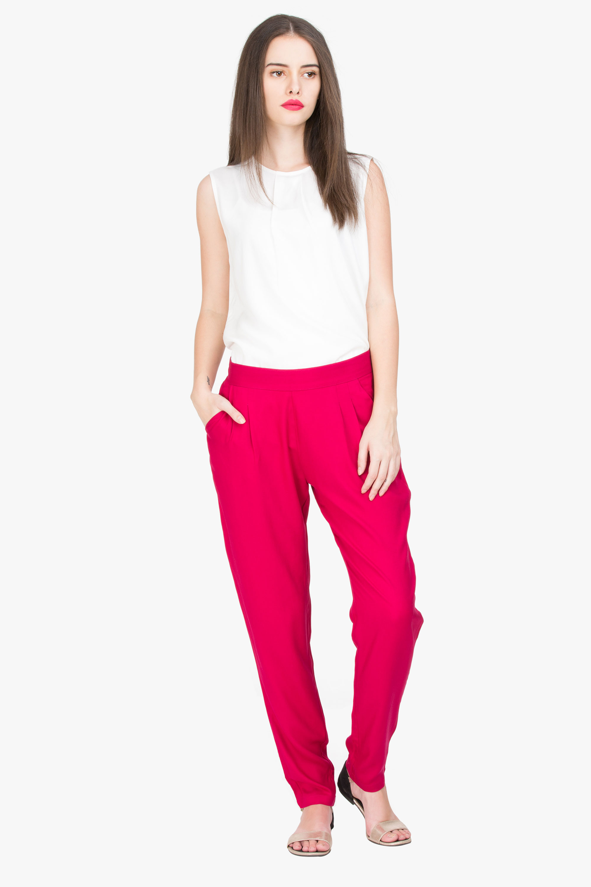 Solid Pink Cigarette Rayon Trouser
