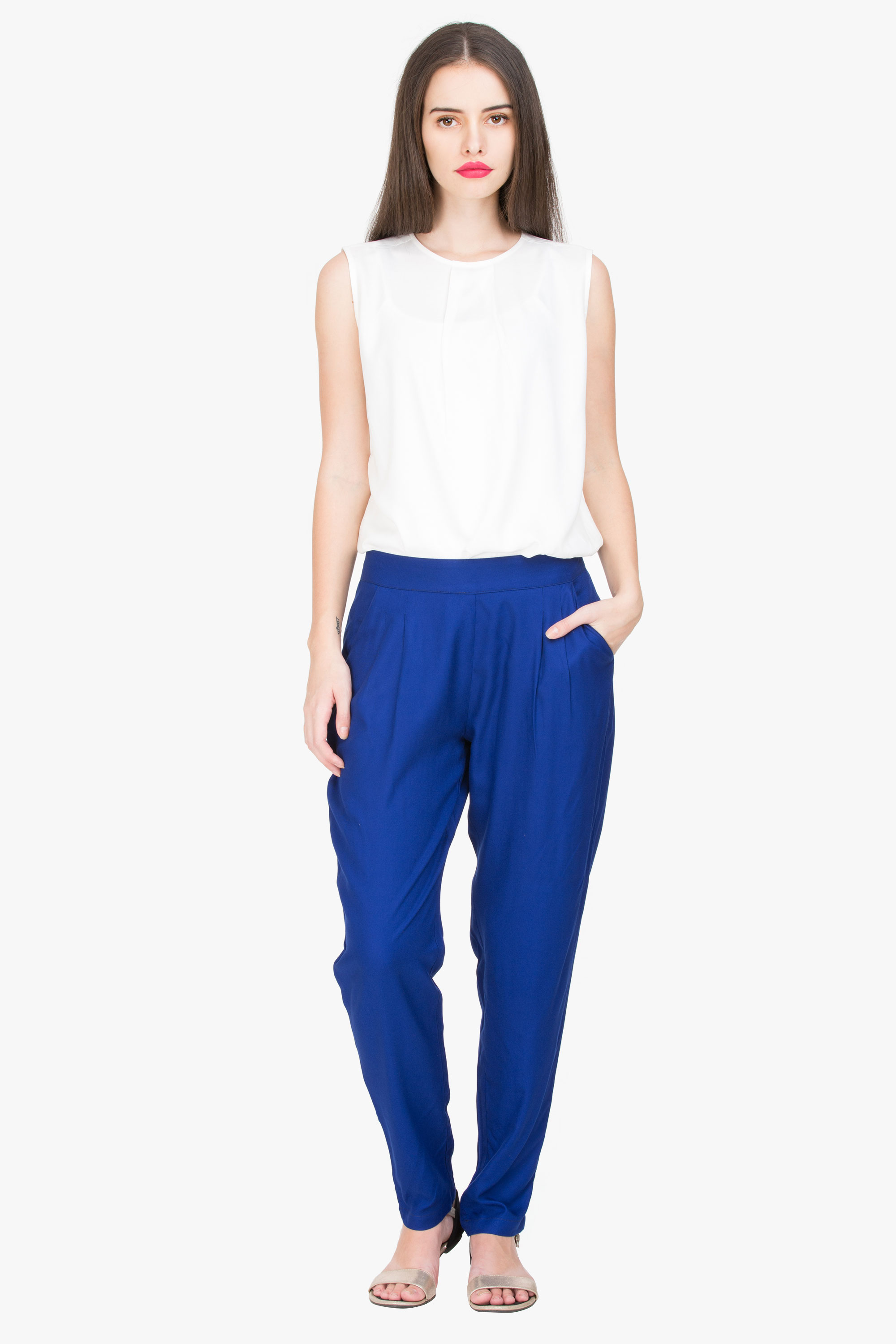 Solid Blue Cigarette Rayon Trouser