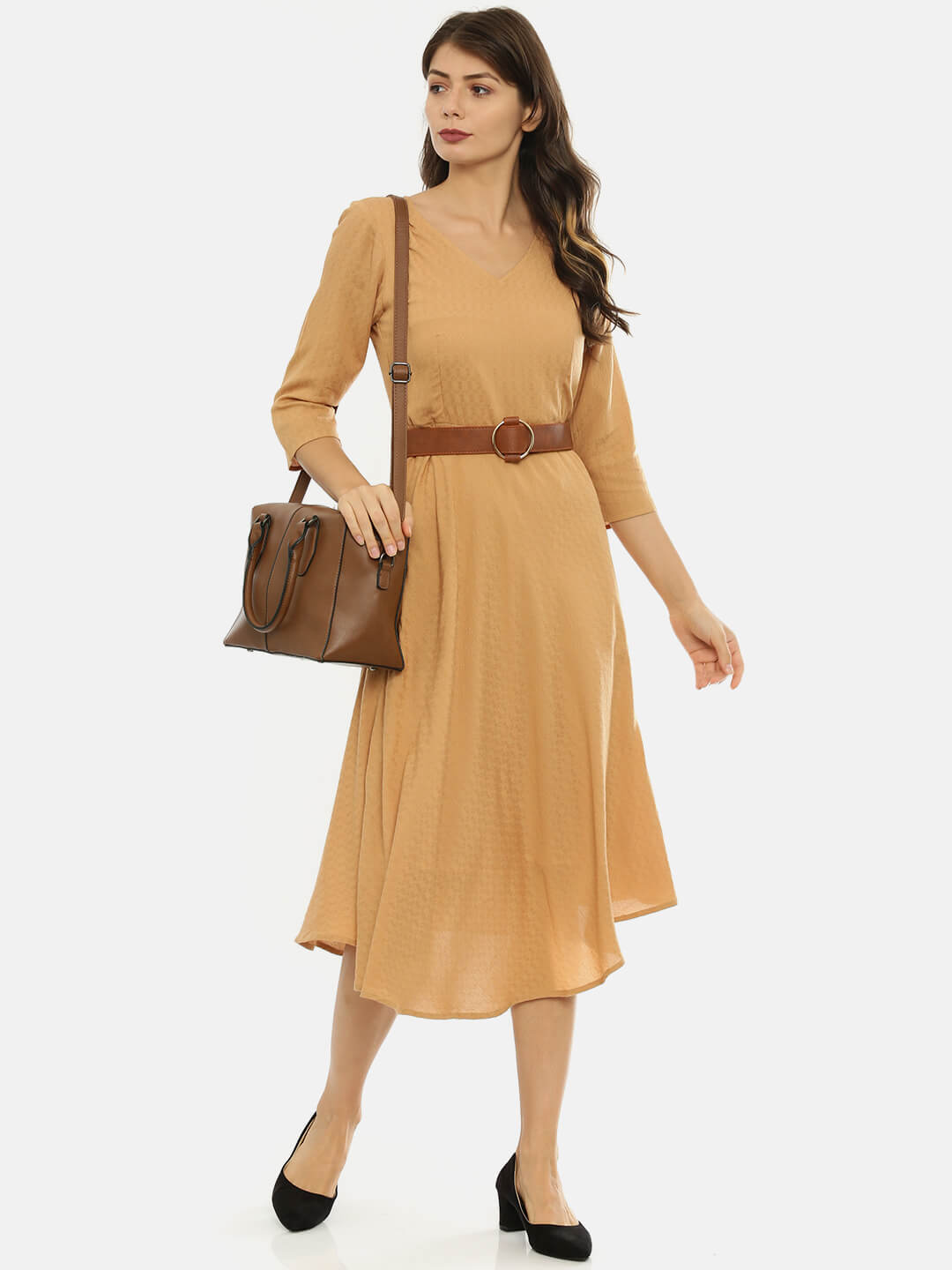 Flaired Dress with Belt