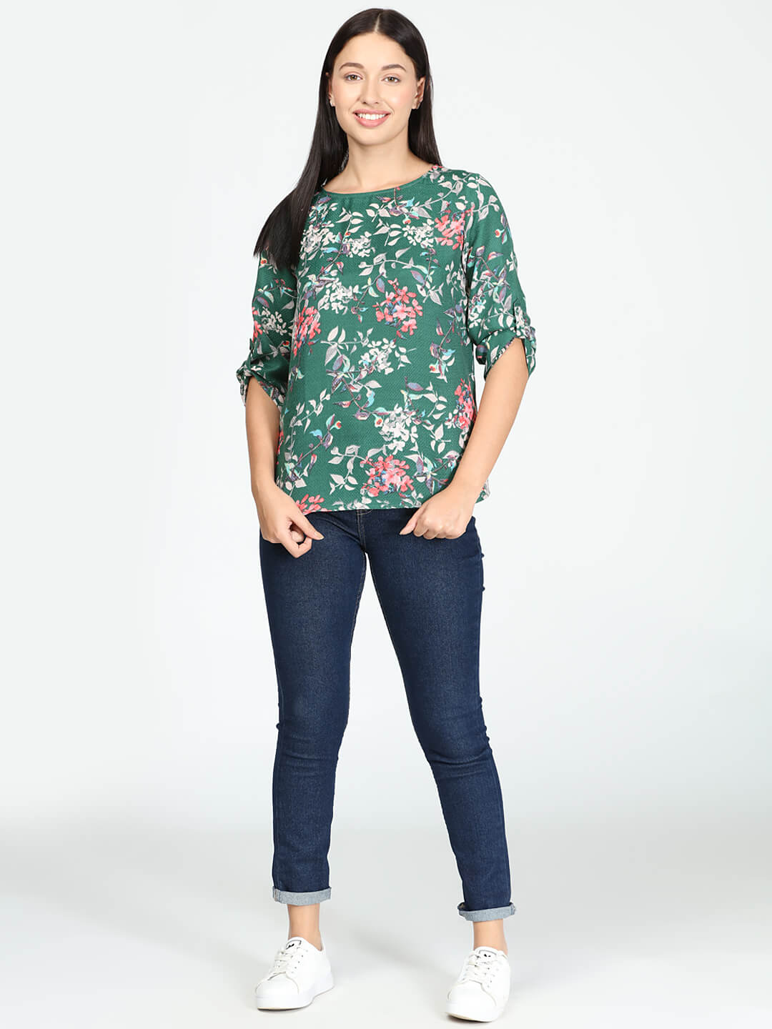 Green Floral Top