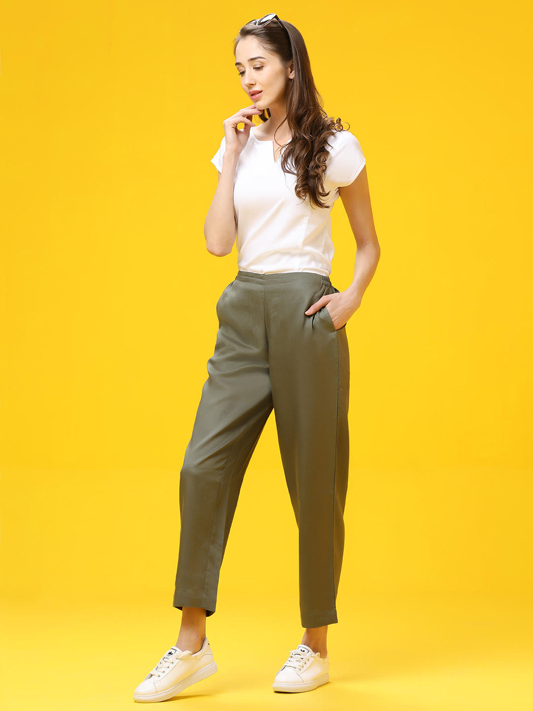 Solid Olive Palazzo Trouser