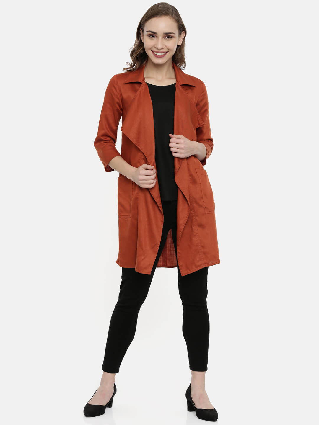 Rust Open Front Jacket