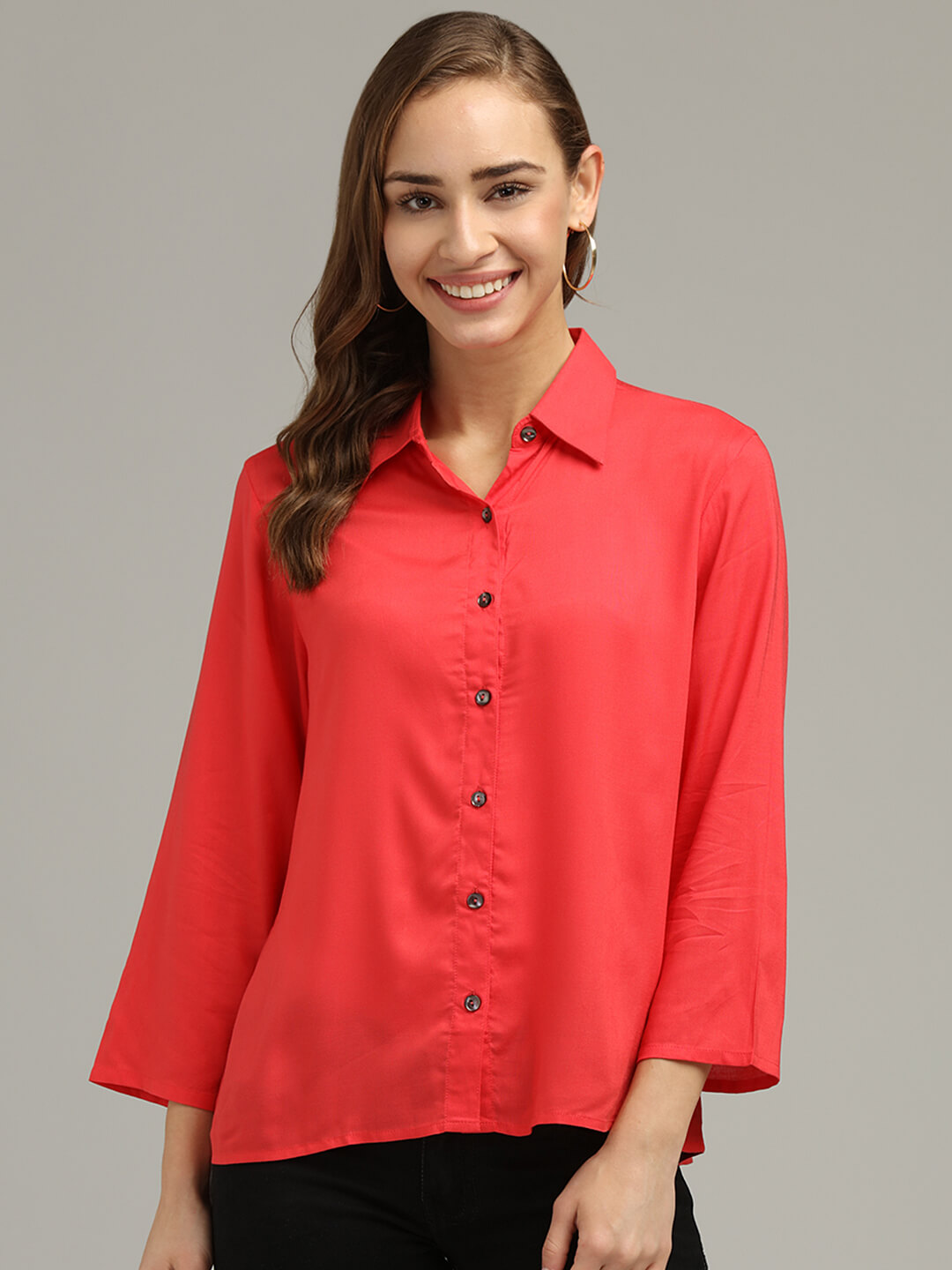 Red 3-4th Sleeve Shirt
