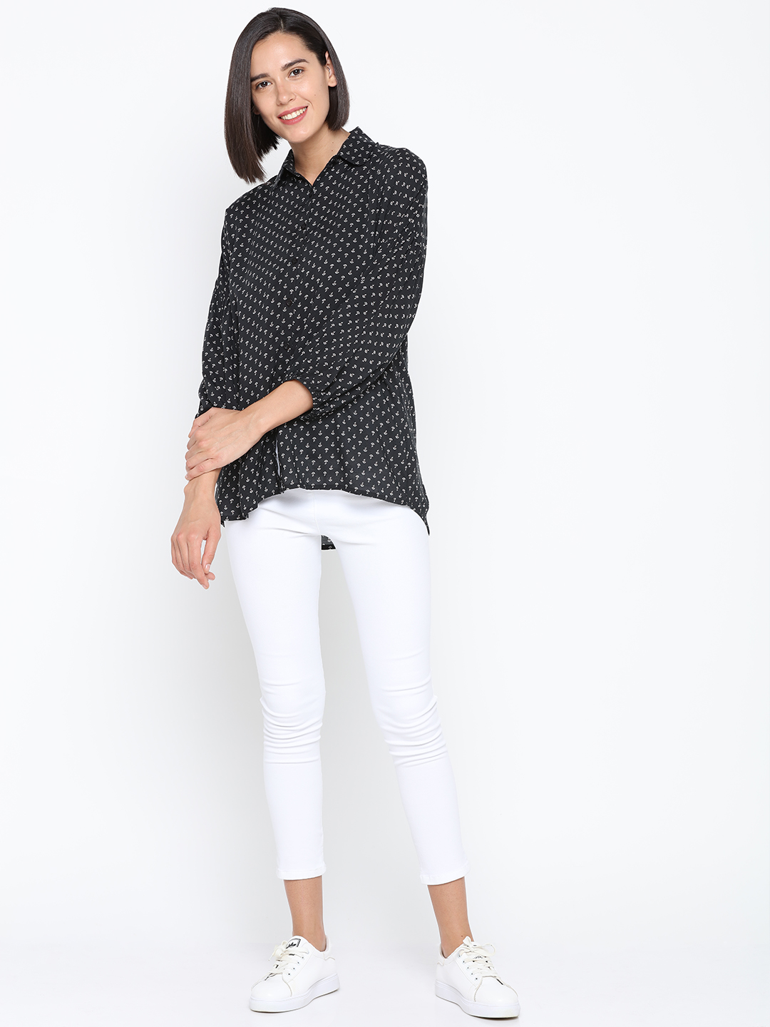 Black Printed Flowy Shirt