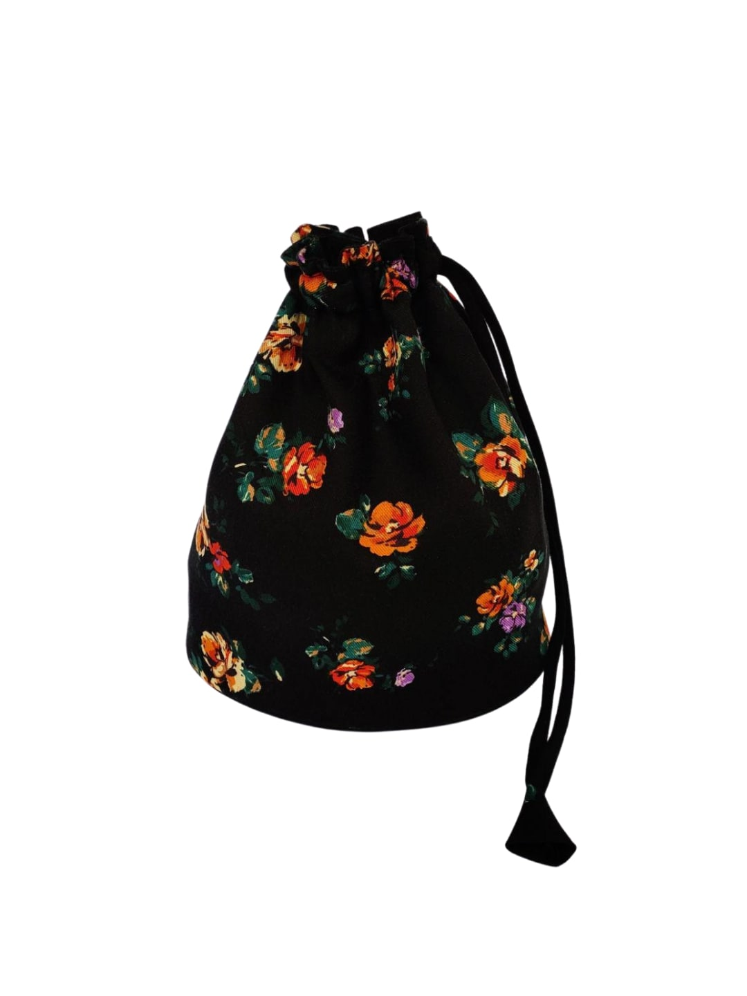 Black Floral Printed Potli Bag