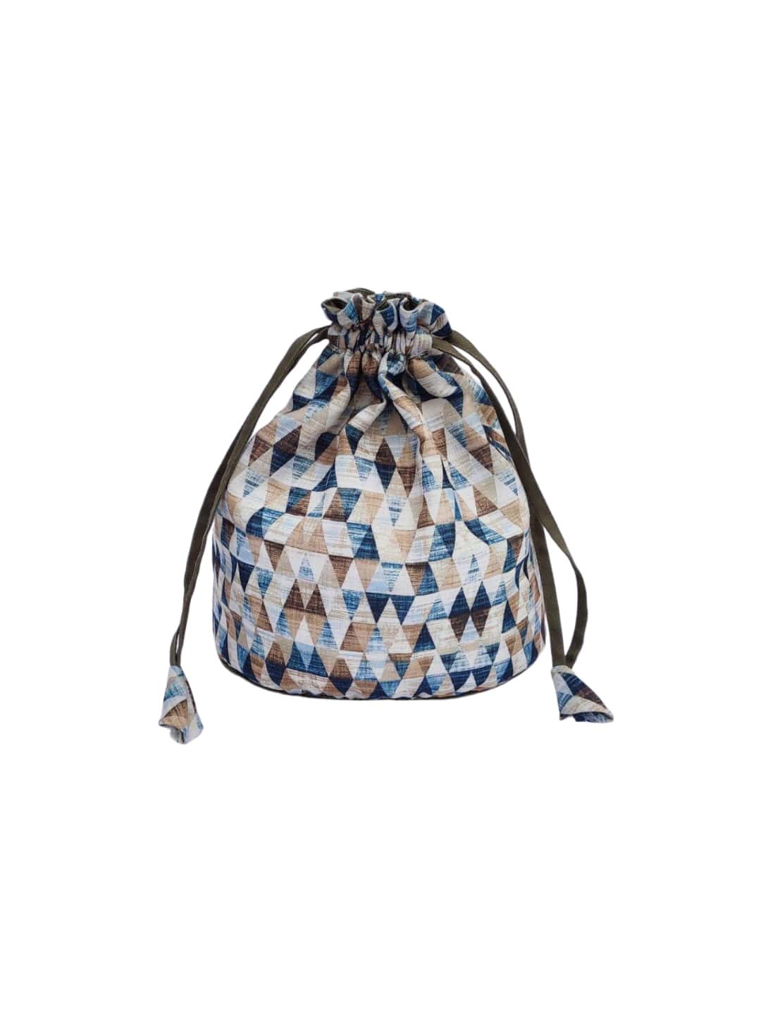 Blue Geometric Printed Potli Bag