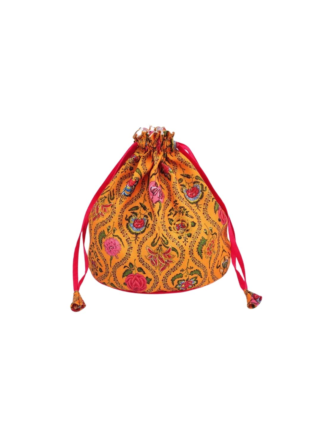 Yellow Floral Printed Potli Bag