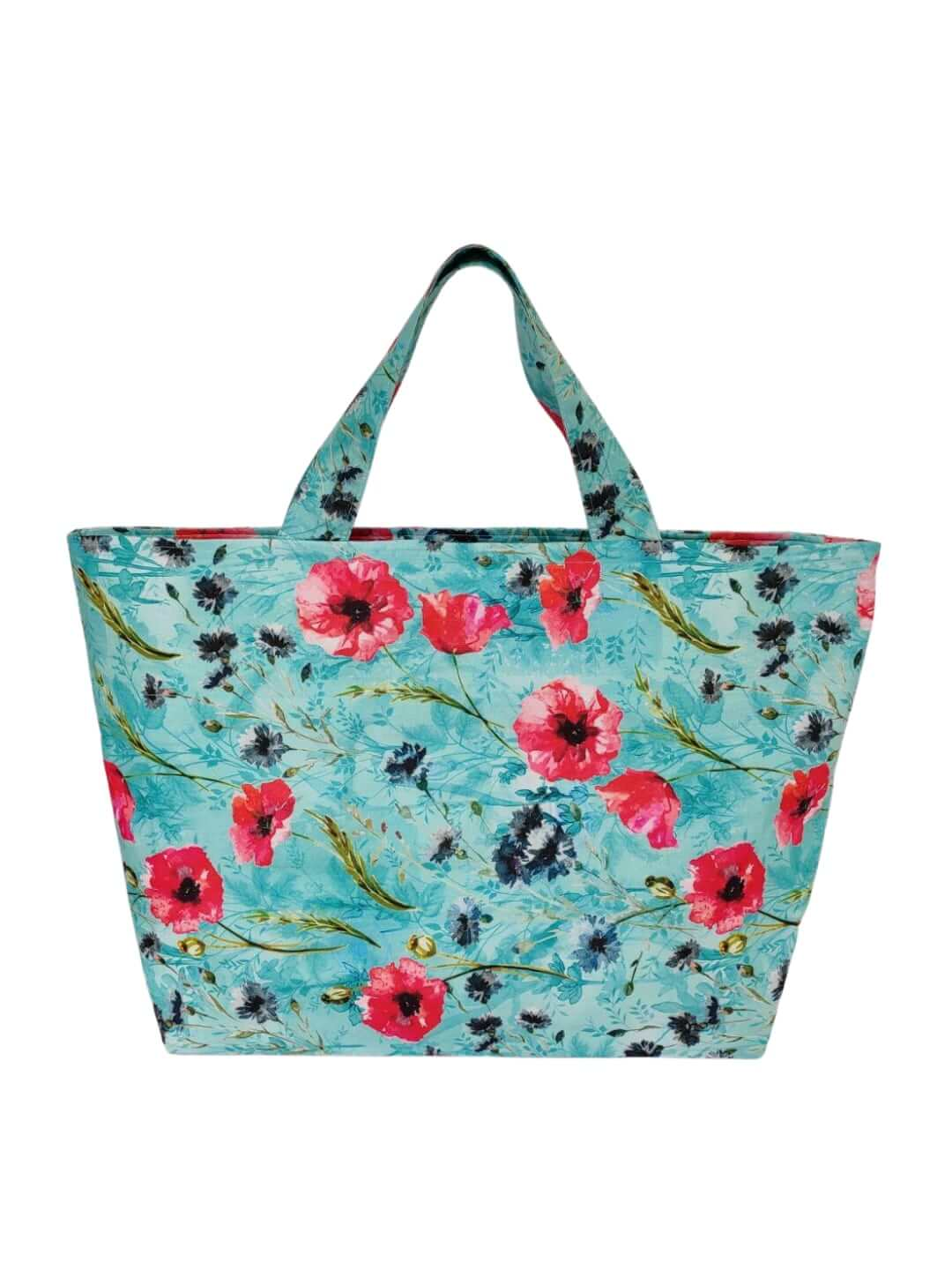 Blue Floral Printed Tote Bag
