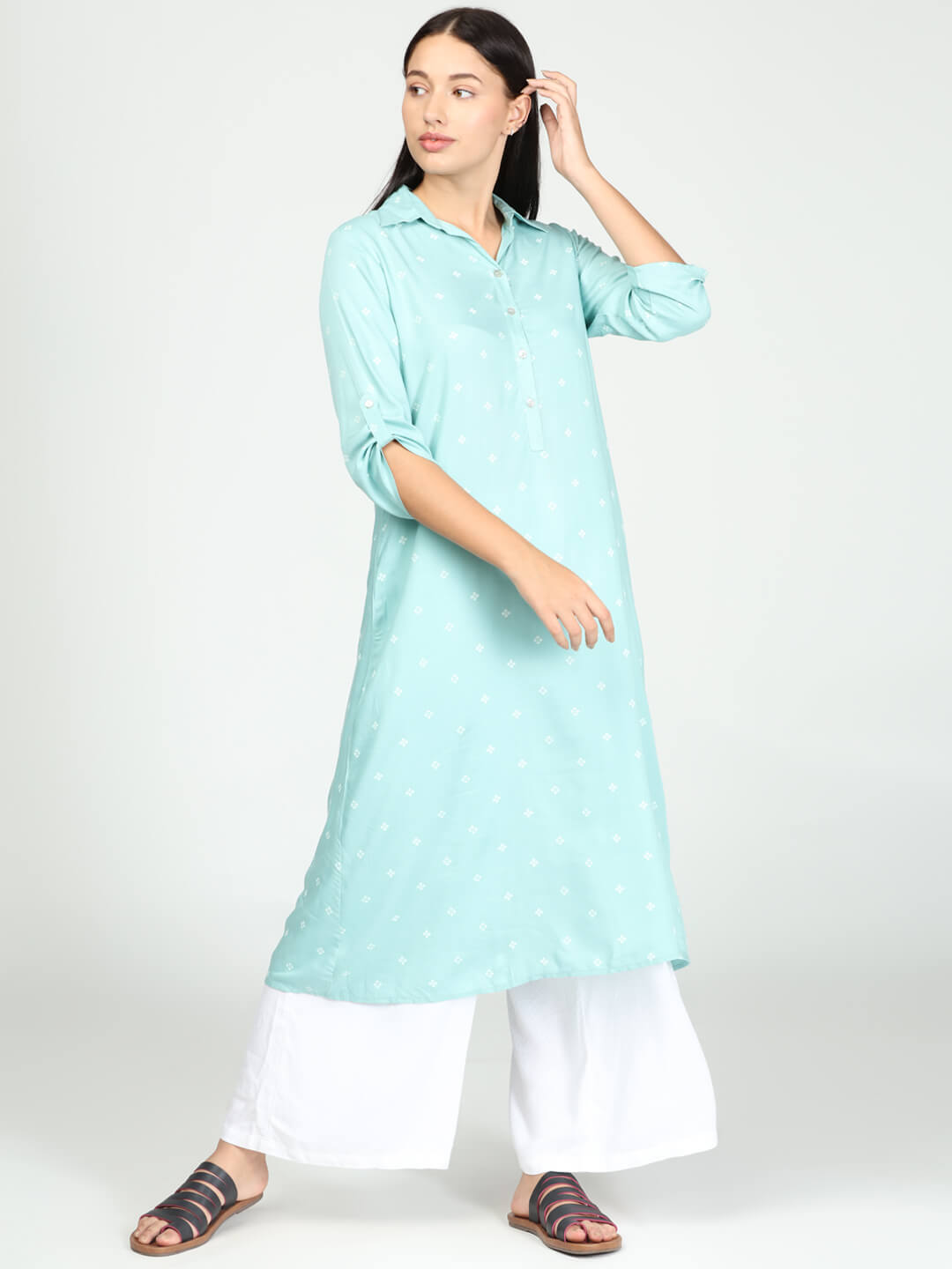 Tunic with Palazzo - Mint Green