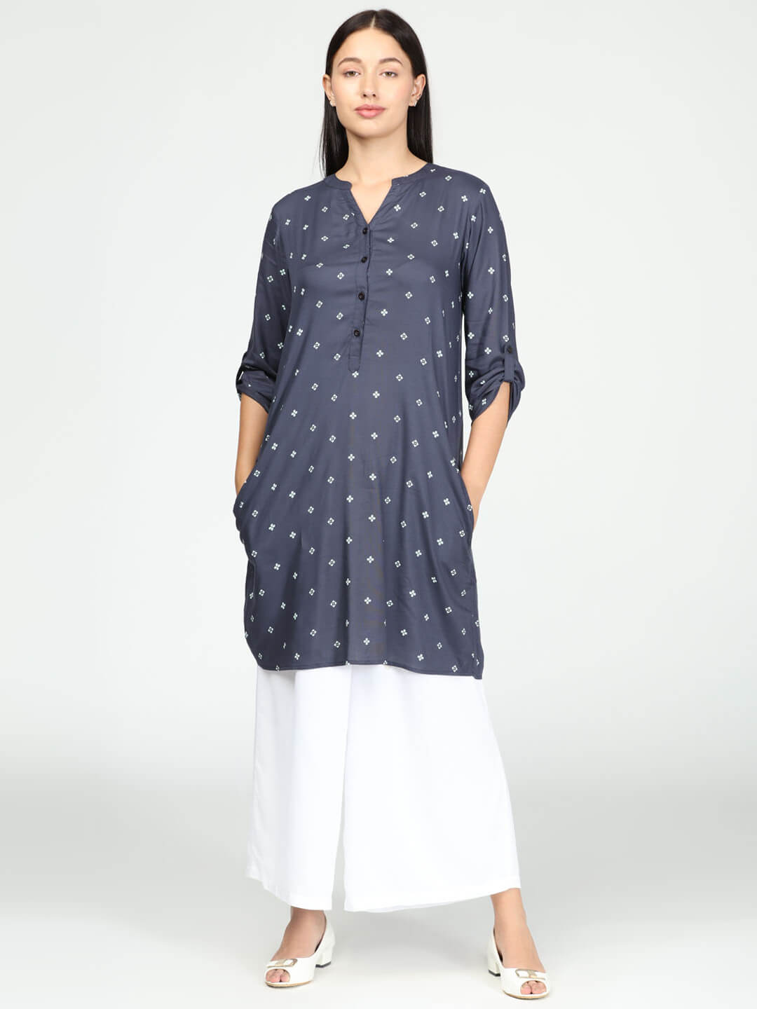 Tunic with Palazzo - Navy Blue