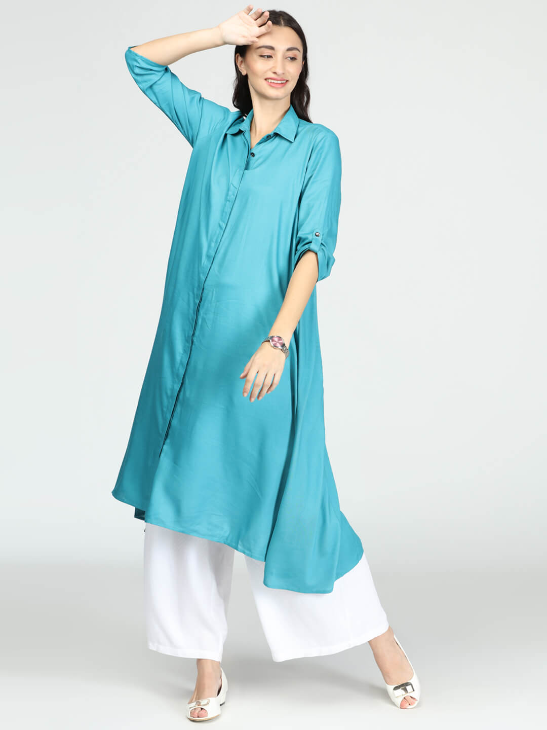 Tunic with Palazzo - Teal Blue